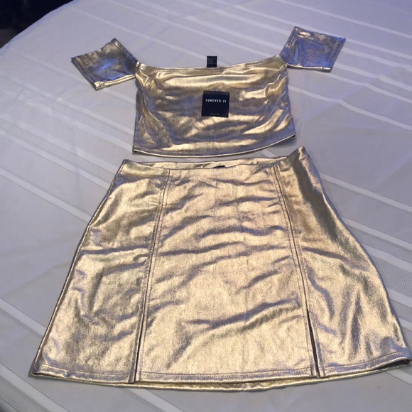 Forever 21 Other - Forever 21 Gold Two-Piece Skirt Set